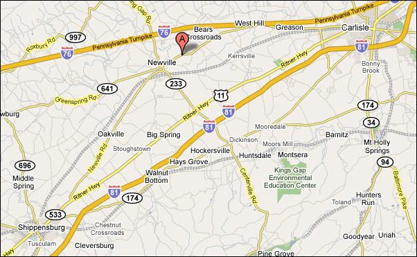 Map for Directions to Newville Animal Hospital